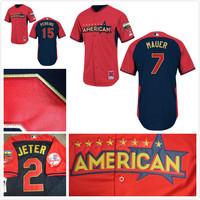 freeshipping American League Minnesota Twins Jersey 7 Joe Mauer /perkins 2014 All Star Baseball jerseys/shirt