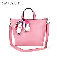 Smilyan 2014  new original leather women handbag with silk scarf fashion women messenger bags genuine leather shoulder bags