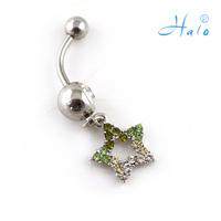 BJ00342  Free Shipping  rhinestone star belly ring piercing body jewelry