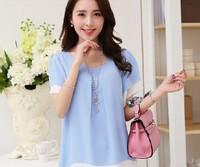 New 2014 Women Summer Dress High Quality Korean Women Short Sleeve Color Contrast  O- Neck Loose Chiffon  Dress Free Shipping