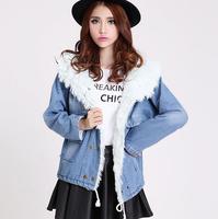 2014 new women's spring Autumn winter  jacket women denim jacket slim yarn large fur collar lamb cotton denim outerwear jeans