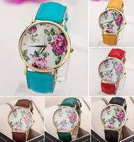 Free Shipping Beautiful Retro Style Unisex Women Men big dial Pu band Quartz Anlog Wrist Fashion Watch