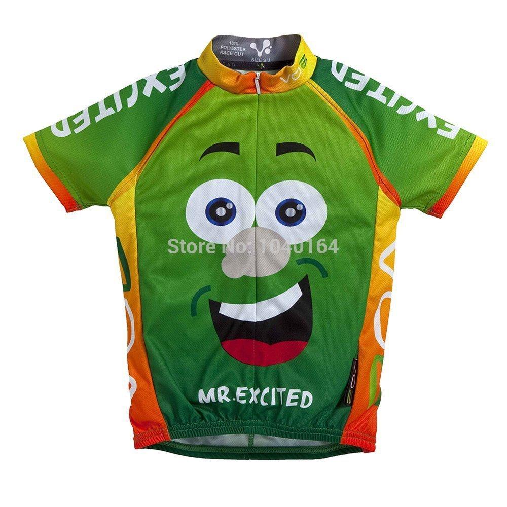 Children's cycling jersey !! new 2014 Boy's cycling jersey short sleeve Mr Excited Children's Cycling Jersey Bicycle Bike Shirts(China (Mainland))