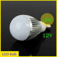 Wholesale(10pieces/lot)Super bright LED energy-saving bulb 4w(4*1w) LED bulb lamp E14 4W 12v Silver color Free Shipping