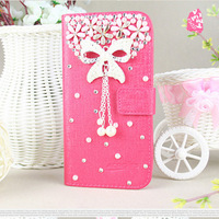 New Luxury 3D flower Bling Diamond Wallet Holster back cover skin PU Leather case For Samsung Galaxy Grand 2 G7106 G7102