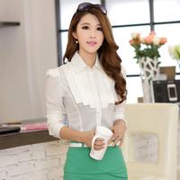 Free Shipping, 2014 Autumn New arrival, Women Female OL Slim Long-Sleeve Chiffon Shirt Blouses, Plus size S-2XL, 2 Colors