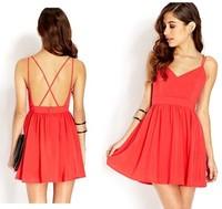Hot Selling Women Summer Chiffon Dress Cross Sexy Party Backless Dress Black Red Euro Style Vestido Feminino YS8208