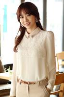 Free Shipping, 2014 Autumn New arrival, Women Female OL Slim Long-Sleeve Chiffon Shirt Blouses, Plus size S-2XL, White