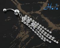60PC/Lot BJ00381 Free Shipping rhinestone stainless steel sexy body jewelry belly ring bijuterias