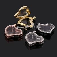 Free Shipping Magnetic floating locket heart sharp with rhinestones pendant