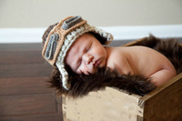 Free shipping Handmade crochet newborn baby boy Pilot hat in brown with earflaps,Cotton made boy aviator style baby hat