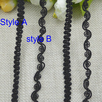 50 meters1cm 1.2cm wide black cluny S shape wavy garments DIY home textile accessories webbing bullion lace trimming  tape