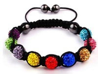 Free Shipping 10mm Crystal AB Clay Disco 9 Balls Shamballa Bracelets& Bangles Mix Colours Options Gift For Women wrist band