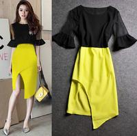 (WDR007) Fashion Vintage 2014 Flare Sleeve Placketing Sexy Irregular Slim Dress One-piece Dress S, M, L, XL