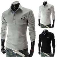 The new 2014 Casual man men embroidered long-sleeved T-shirt Free shipping