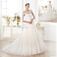 Custom Made White Half Sleeve See Through Cathedral Train A-ine Muslim Wedding Dress HZ3414