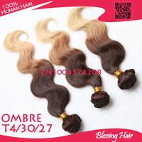 Virgin 6A brazilian body wave 3 color ombre human hair weave bundles,long lasting top quality brazilian virgin hair extensions