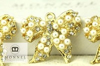 H353 MONNEL Cute Pearl Beads Clear Crystal Bow Pendant Charm
