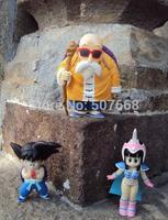 Anime Cartoon Dragon Ball Goku+ChiChi+Master Roshi PVC Action Figure Collection Model Toy set 3pcs/lot DBFG100