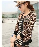 2014 Spring Fashion Style Leopard Plus Size M-XXL Coat Women short V-neck Single Breasted Coat