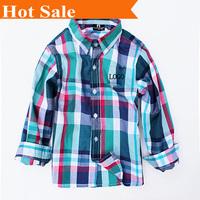 Retail  2014  new Fashion casual  polo kids boy shirt Plaid Long sleeve  clothing 1 pcs Spring&Autumn children's clothes