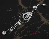 60pc/lot BJ00400 Free Shipping rhinestone navel belly ring punk piercing body jewelry