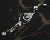 BJ00400 Free Shipping rhinestone navel belly ring punk piercing body jewelry