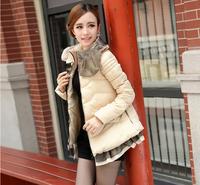 2014 new Eiderdown cotton Women Winter Down & Parkas Thick Ladies elegant RUFFLES collar Outerwear Coat M-XXL QCP08