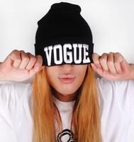 New 2014 Autumn Winter Fashion Caps Embroidery Letter VOGUE Beanies Hip-Hop Knit Men Women Hats Casual Cheap 4 Color Beanie Hat
