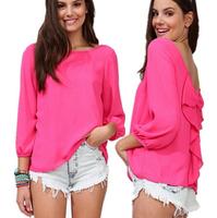 free shipping 2014 new fashion woman casual Halter Bow shirt sexy lady fashion blouse woman chiffon shirt
