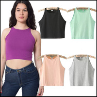 2014  New Women's Fashion Sexy  Cotton Spandex Sleeveless Crop Top 6 colors 4 Size