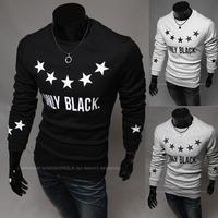 2014 han edition men's casual men star printing long sleeve T-shirt free shipping