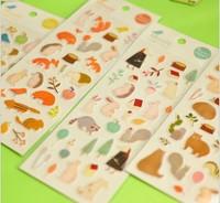 2014 new Free ship 1lot=20pcs/korean stationery kawaii Cute animal rabbit hedgehog bear the fox cartoon stickers /N stickers