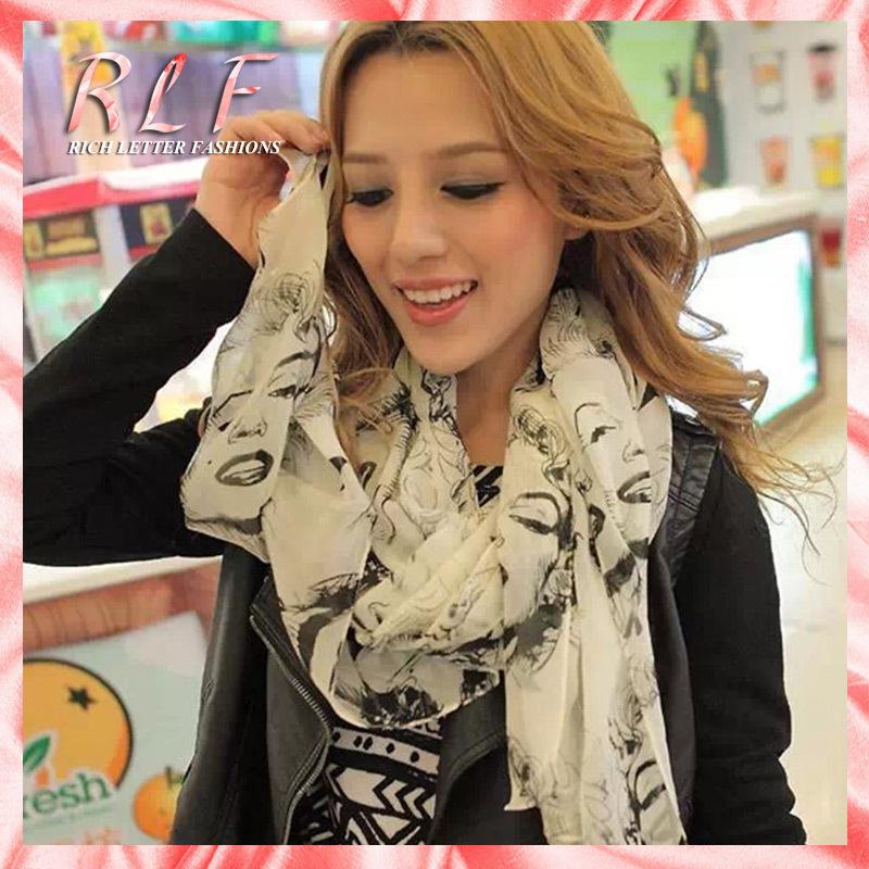 2014 Winter Scarf Hijab Chiffon Girl Scarves Lip Marilyn Monroe Head Print Scarf Shawl Wrap Shades Trend free Shipping & Drop(China (Mainland))