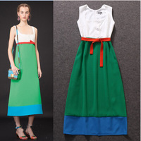 Free Shipping ! 2014 Early Autumn Fashion Women's European Contrast Color Buttons Midi Slim Vest Dress With Belt