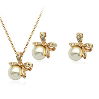 Wholesale 18K Gold White Gold Plated nice pearl crystal Jewelry Sets 1289S