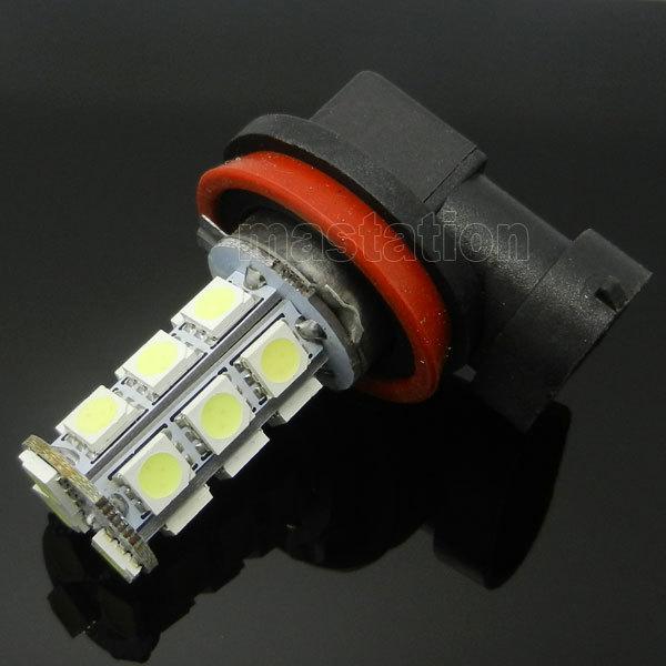 2PCS/LOT H8 H9 H11 LED 18 SMD 5050 Car Fog Headlight Tail White Light Bulb Lamp B CL1118(China (Mainland))