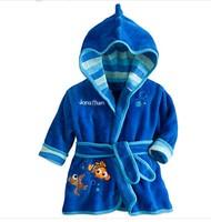 Children'sBoys Cartoon Robe Or Baterobe:2014 New Baby Flannel Pajamas Boys Homewear Kids Warm Robe with Fish Pattern Retail