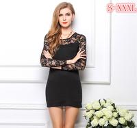 2014 New Women Sexy Club Dress Long Sleeve Lace Dress Party Evening Mini Dress Clubwear Bodycon Dress Black/White W00223