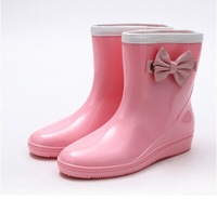 Genuine spring 2014 fashion boots  female Korean cute bow warm water garden shoe  Short