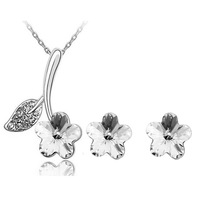 Wholesale 18K Gold White Gold Plated Full Austrian Crystal Flower Jewelry Sets 1287S