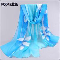 (Min order is $10) 2014 New Stylish Girl Long Soft Silk Chiffon Scarf Wrap flower Shawl Scarve For Women Hot Sale