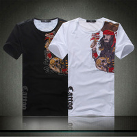 2014 Mens Short Sleeve Skull Printing Presonality T Shirt Slim Fit Tee Top