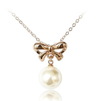 18K Gold White gold plated Nice Pearl necklace pendant  fashion jewelry  1275n