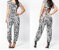 2014 Hot systemic fashion elegant print jumpsuit High-end party bandage jumpsuit KM010