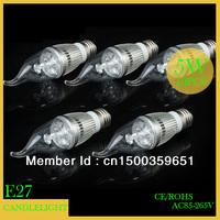 Wholesale(5pieces/lot)lCandle lights AC85-265V led Candle ligh 5w e27 Warm White/White led lighting energy saving Free Shipping
