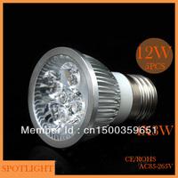 Wholesale(5pieces/lot)  LED light E27 12W(4*3W) AC85-265V LED Bulb Light Spot Light Lamp White/Warm white Free Shipping