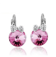 wholesale white gold plated austrian crystal  stud earrings fashion jewelry 1255e