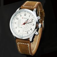 2014 Unique Design Curren Men Dress Watch Brown Leather Analog Quartz Watch Wristwatch 8152
