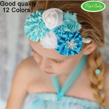 Minimum order of $ 8--Beautiful frozen headband style baby bow kids hair accessories 12 color quality goods(China (Mainland))